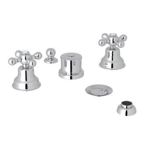 Polished Chrome Arcana Five Hole Bidet Faucet with Arcana Series Only Cross Handle