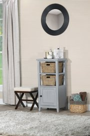 Tuscan Retreat® Basket Stand With Wood Plank Door Shelf With Two Baskets - Powder Blue Wood Finish / Product Image