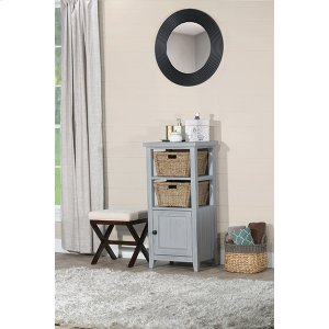 Hillsdale FurnitureTuscan Retreat(r) Basket Stand With Wood Plank Door Shelf With Two Baskets - Powder Blue Wood Finish /