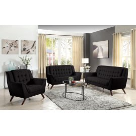Baby Natalia Mid-century Modern Black Three-piece Living Room Set