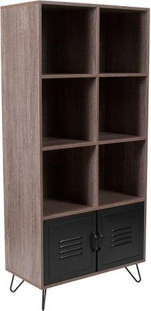 Woodridge Collection Rustic Wood Grain Finish Storage Shelf with Metal Cabinet Doors and Black Metal Legs