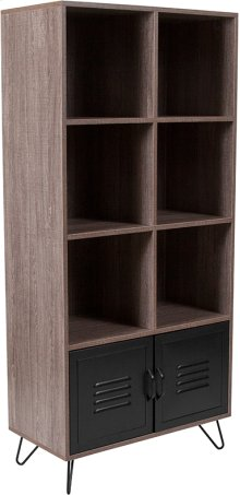 """Woodridge Collection 59.25""""H 6 Cube Storage Organizer Bookcase with Metal Cabinet Doors and Metal Legs in Rustic Wood Grain Finish"""