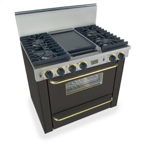 """Five Star36"""" All Gas, Convect, Sealed Burners, Black with Brass"""