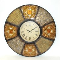 "Metal Multi Color Patch Wall Clock-30""""D Product Image"