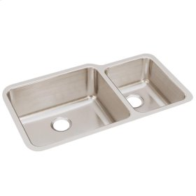 """Elkay Lustertone Classic Stainless Steel, 35-1/4"""" x 20-1/2"""" x 9-7/8"""", Offset 60/40 Double Bowl Undermount Sink"""