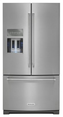 *Scratch and Dent* 26.8 cu. ft. 36-Inch Width Standard Depth French Door Refrigerator with Exterior Ice and Water and PrintShield finish - PrintShield Stainless