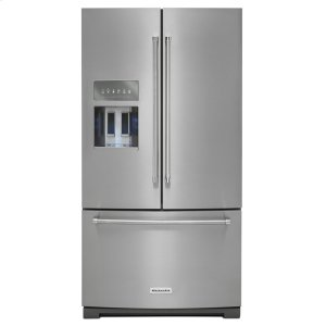 KitchenAid26.8 cu. ft. 36-Inch Width Standard Depth French Door Refrigerator with Exterior Ice and Water and PrintShield™ finish - Stainless Steel with PrintShield™ Finish