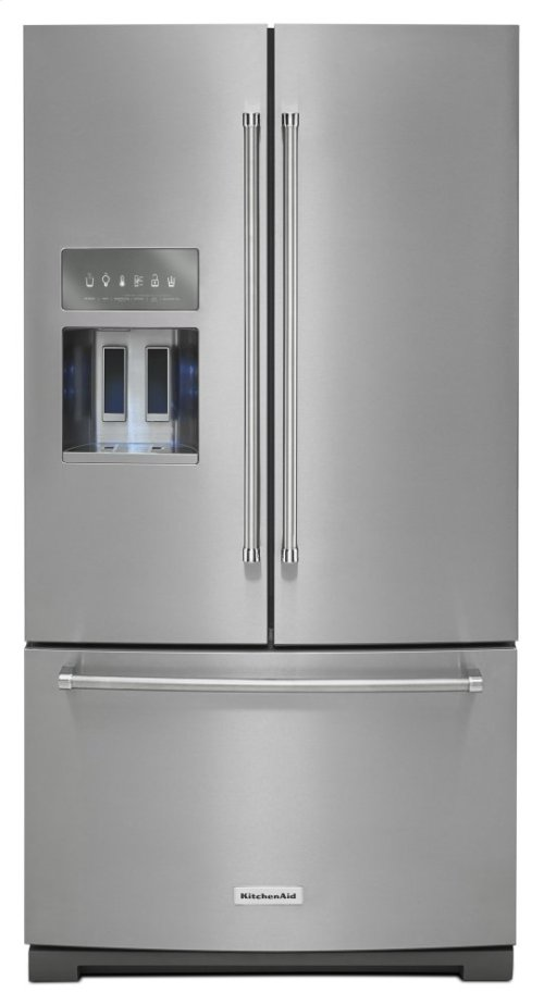 26.8 cu. ft. 36-Inch Width Standard Depth French Door Refrigerator with Exterior Ice and Water and PrintShield finish - PrintShield Stainless