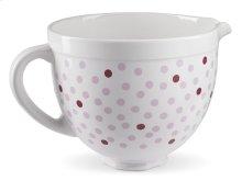 5 Quart Ceramic Bowl - Pink Polka Dot