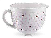 5 Quart Ceramic Bowl - Pink Polka Dot