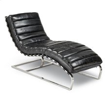 Chaise Lounge In Vintage Black Leather