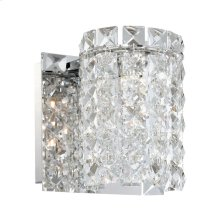 Queen Crown 1-Light Vanity Sconce in Chrome with Clear Crystal