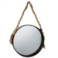 Large Wall Mirror with Twisted Rope Hanger. Product Image