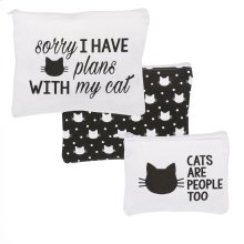 """""""Cats Are People Too"""" & """"Sorry, I Have Plans with My Cat"""" Zip Pouches set/3."""