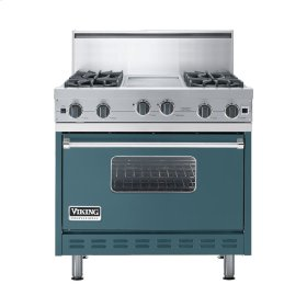 "Iridescent Blue 36"" Open Burner Commercial Depth Range - VGRC (36"" wide, four burners 12"" wide griddle/simmer plate)"