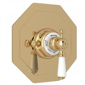Unlacquered Brass Perrin & Rowe Edwardian Octagonal Concealed Thermostatic Trim Without Volume Control with Metal Lever
