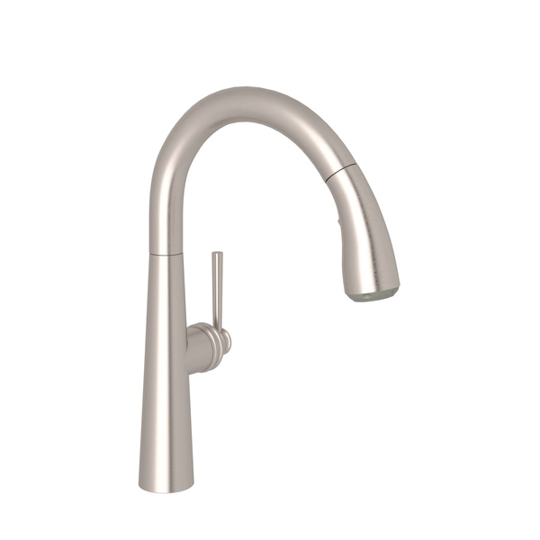 Satin Nickel Lux Pull-Down Bar/Food Prep Faucet with Lux Metal Lever