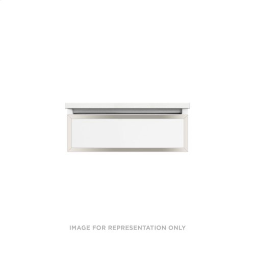 """Profiles 24-1/8"""" X 7-1/2"""" X 18-3/4"""" Framed Single Drawer Vanity In Matte White With Polished Nickel Finish and Slow-close Plumbing Drawer"""