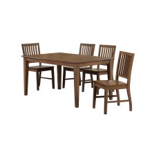 DLU-BR3660-C60-AM5PC  Rectangular Table Dining Set  4 Chairs  Amish Brown