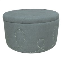 Sophia Button Tufted Light Grey Linen Ottoman w/ Nailhead Loop Design
