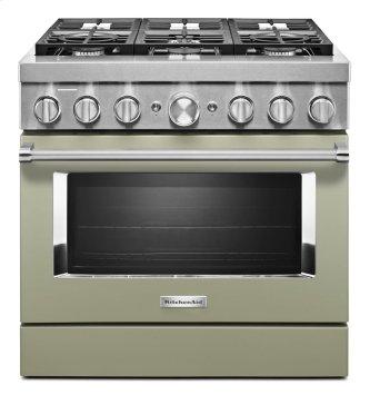KitchenAid™ 36'' Smart Commercial-Style Dual Fuel Range with 6 Burners - Avocado Cream