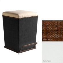 Ecru Fabric Purveyor Counter Stool in Walnut Finish