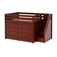 Mid Loft w/ Staircase on End & 2 x 4 Drawer Dressers : Full : Chestnut : Panel
