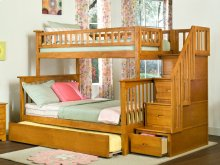 Columbia Staircase Bunk Bed Twin over Full with Urban Trundle Bed in Caramel Latte