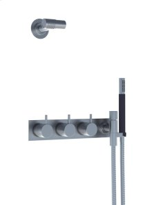Two-handle build-in mixer with 1/4 turn ceramic disc technology and diverter - Grey