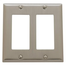 Satin Nickel Beveled Edge Double GFCI