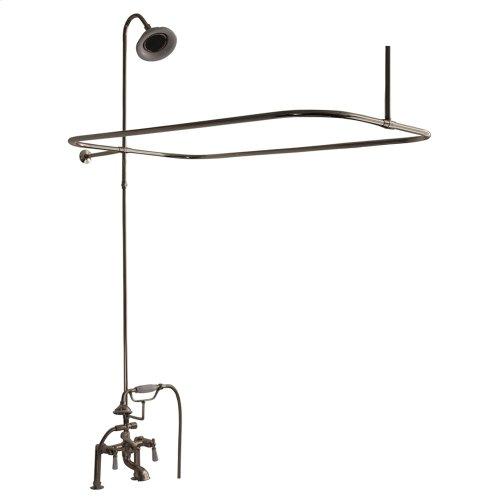 Tub/Shower Converto Unit - Elephant Spout, Shower Ring, Riser, Showerhead, Lever Handles - Polished Nickel