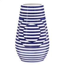 Optical Illusion Blue and White Striped Ceramic Vase, Large