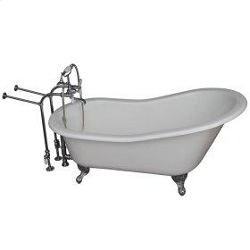 "Icarus 67"" Cast Iron Slipper Tub Kit - Polished Chrome Accessories - White"