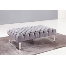 Divani Casa Maxson Transitional Grey Velvet Tufted Ottoman