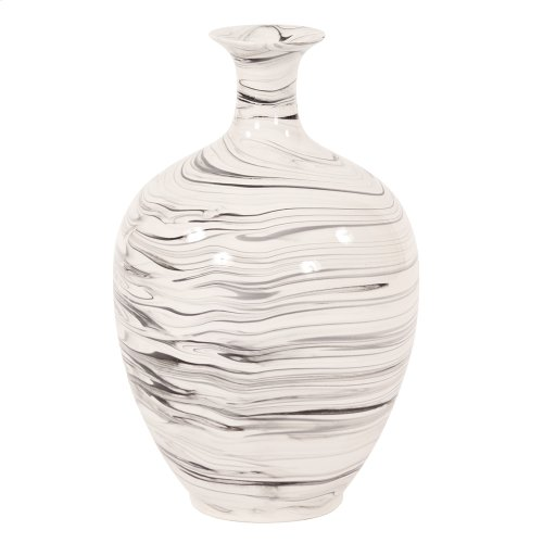 Porcelain White and Black Swirl Bottle Vase