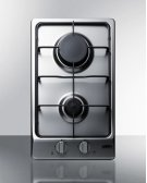2-burner Gas Cooktop With Sealed Burners, Stainless Steel Surface, and Cast Iron Grates Product Image