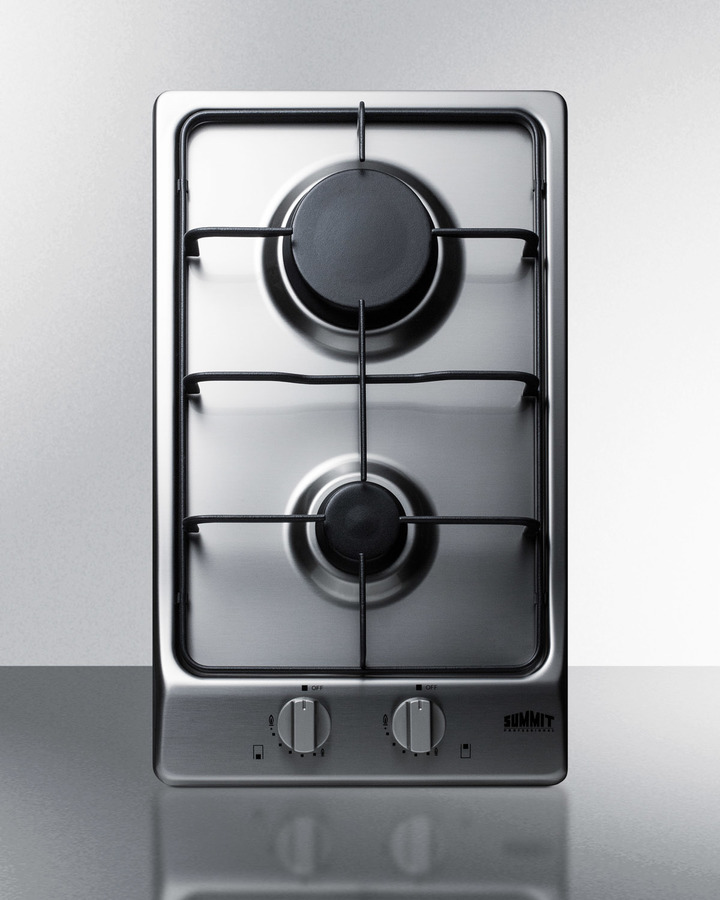 2burner gas cooktop with sealed burners stainless steel surface and cast iron