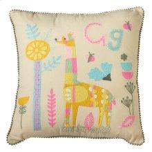 Embroidered Giraffe Pillow.