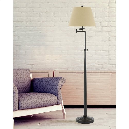 150W 3 Way Madison Adjust able Metal Swing Arm Floor Lamp With Burlap Shade