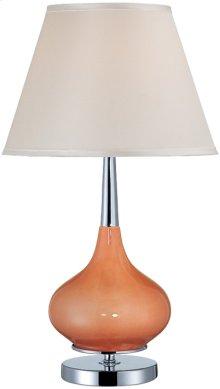 Table Lamp, Chrome/coral Ceramic/white Fabric, E27 Cfl 23w