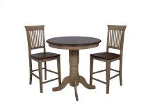 "Sunset Trading 3 Piece Brook 36"" Round Pub Table Set with Fancy Slat Stools - Sunset Trading"
