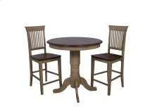 "Sunset Trading 3 Piece Brook 36"" Round Pub Table Set with Fancy Slat Stools - Sunset Trading"