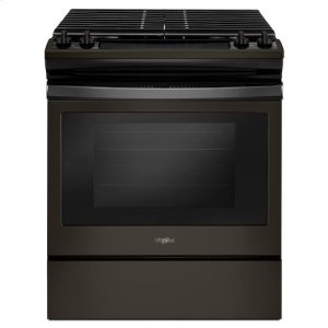Whirlpool(R) 5.0 cu. ft. Front Control Gas Range with Cast-Iron Grates - Black Stainless - BLACK STAINLESS
