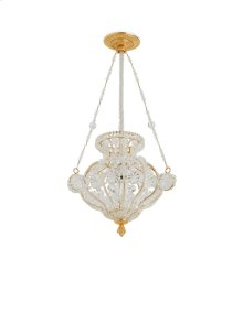 Antique Gold Crystal Chandelier with Acanthus Canopy