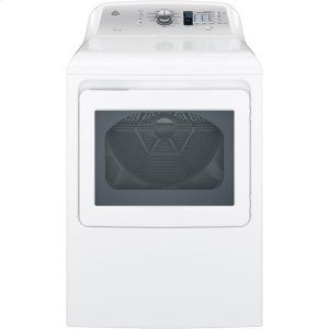 GE® 7.4 cu. ft. Capacity aluminized alloy drum Electric Dryer with HE Sensor Dry - WHITE ON WHITE WITH SILVER BACKSPLASH