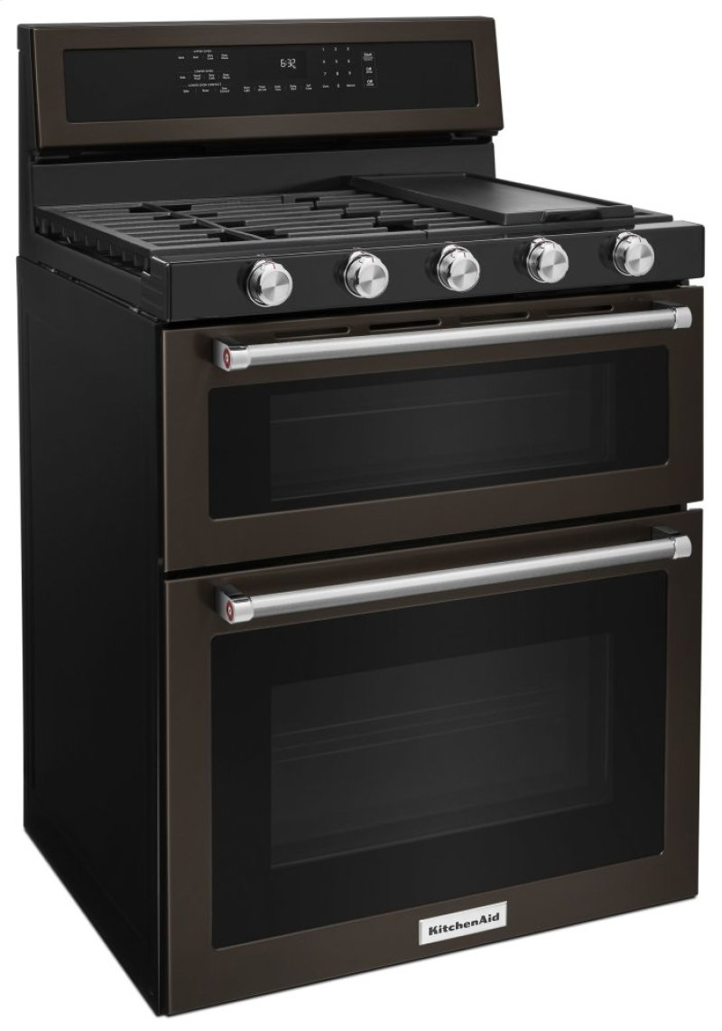 Burner Gas Double Oven Convection Range Black Stainless