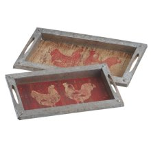 Rooster and Hen Tray set/2
