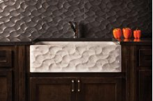 Wave Front Farmhouse Sink Carrara Marble