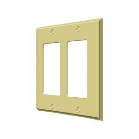 Switch Plate, Double Rocker - Polished Brass