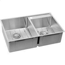 "Elkay Crosstown Stainless Steel 32-1/2"" x 20-1/2"" x 9"", Offset Double Bowl Undermount Sink Kit with Water Deck"